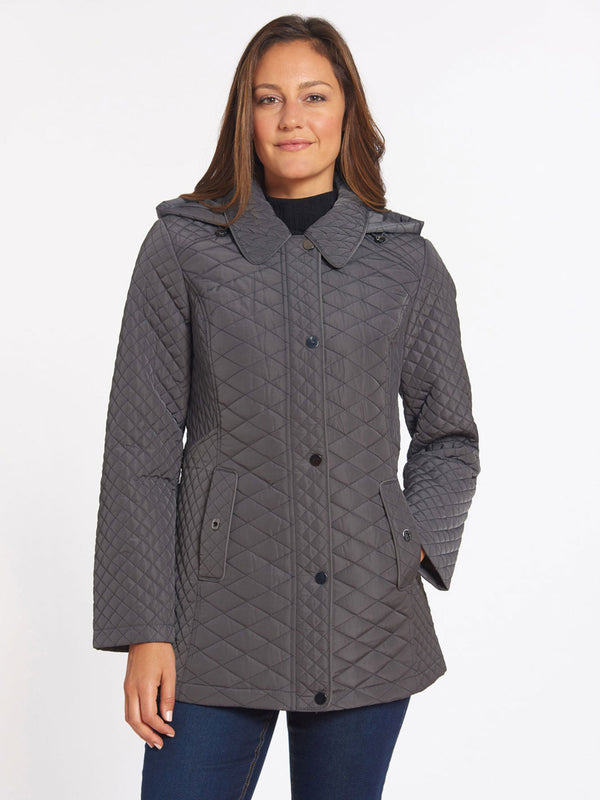 Quilted Snap Front Coat