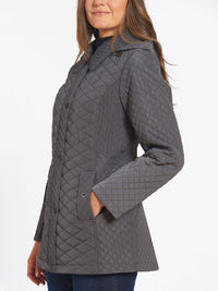 The Jones New York Quilted Snap Front Coat in color Gunmetal - Image Position 3