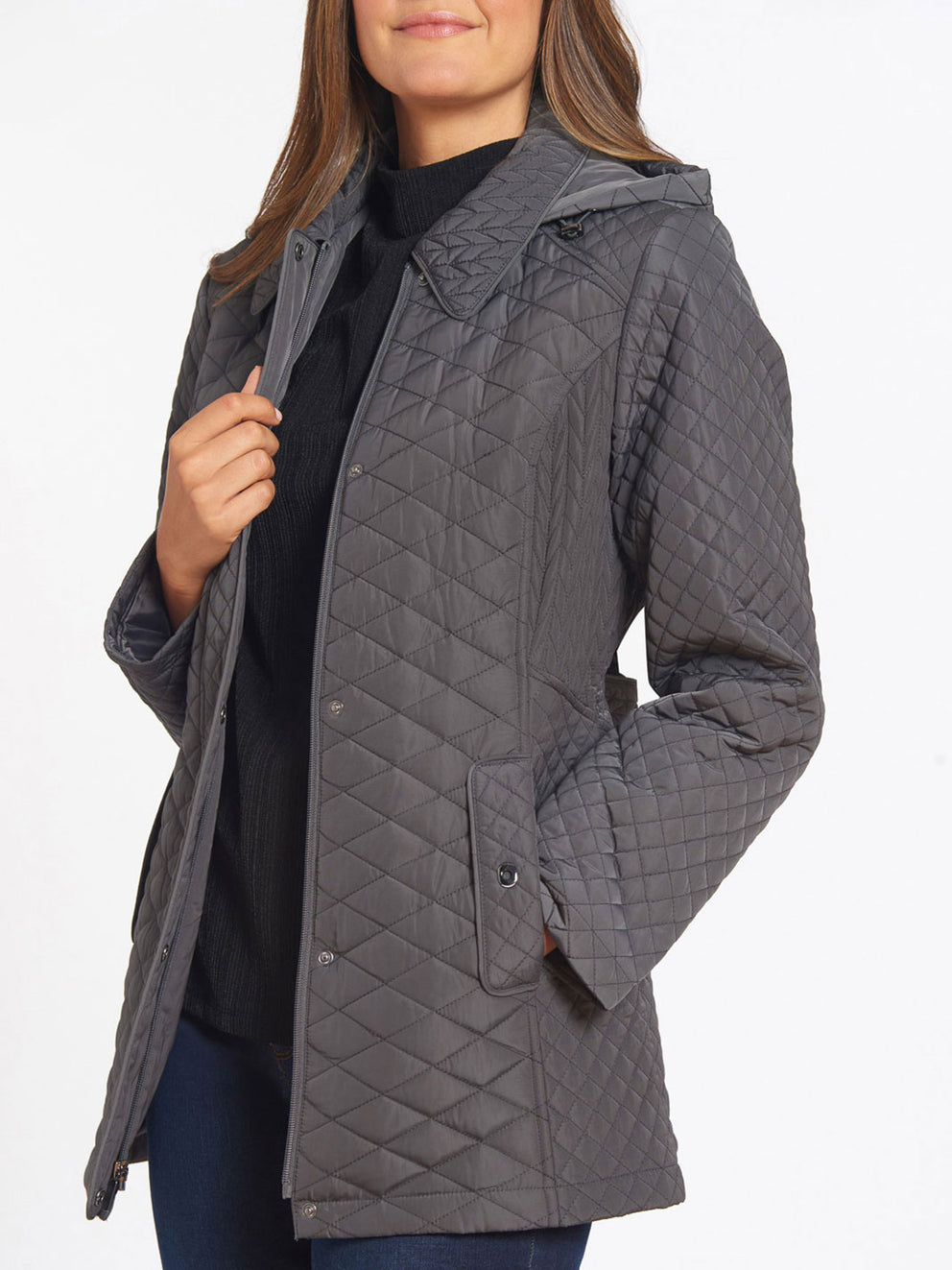The Jones New York Quilted Snap Front Coat in color Gunmetal - Image Position 2