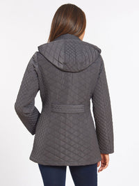 The Jones New York Quilted Snap Front Coat in color Gunmetal - Image Position 4