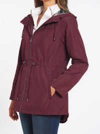 Plaid Trim Parka Color Burgundy