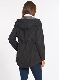 The Jones New York Plaid Trim Parka in color Black - Image Position 4
