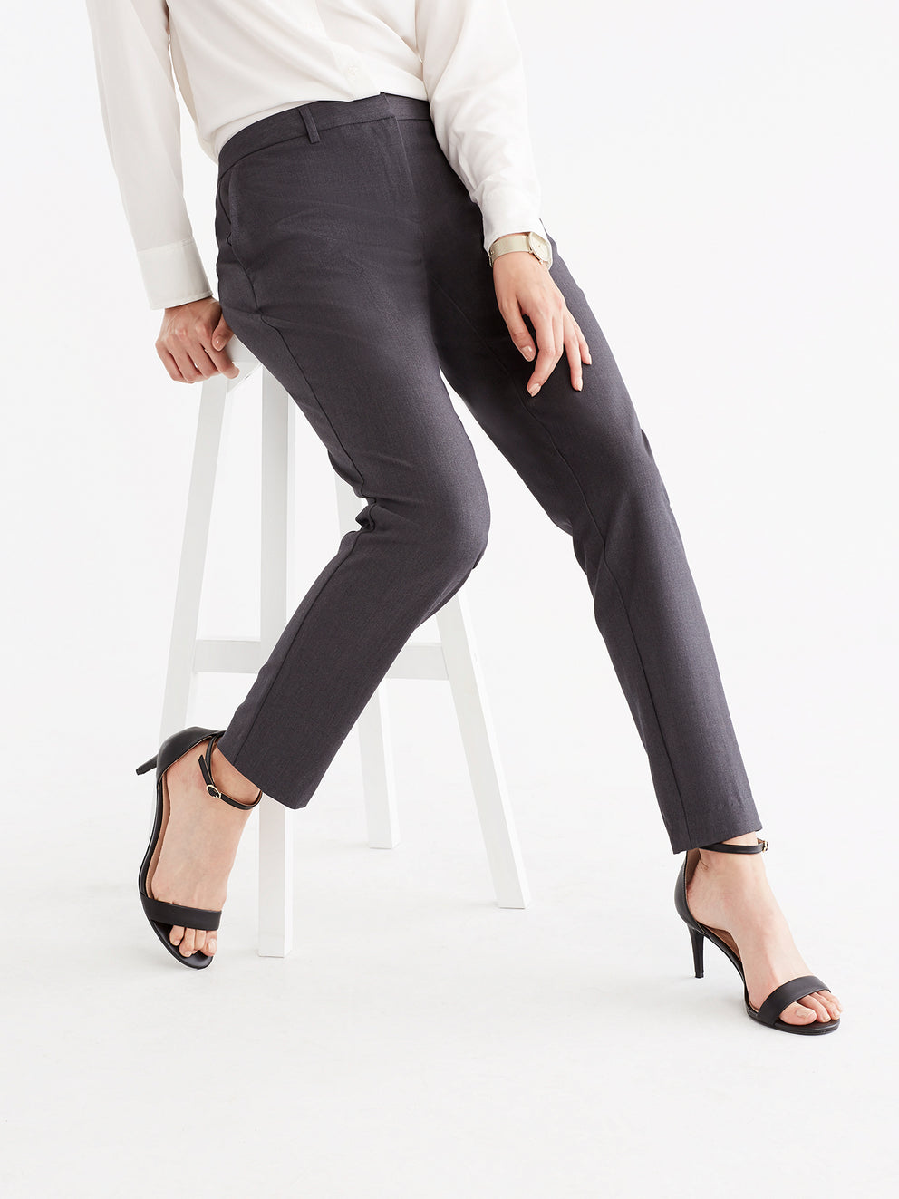 The Jones New York Grace Full-Length Pant in color Charcoal - Image Position 2