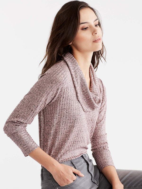 Macaron Shiny Ribbed Cowl Neck Top Color Pink