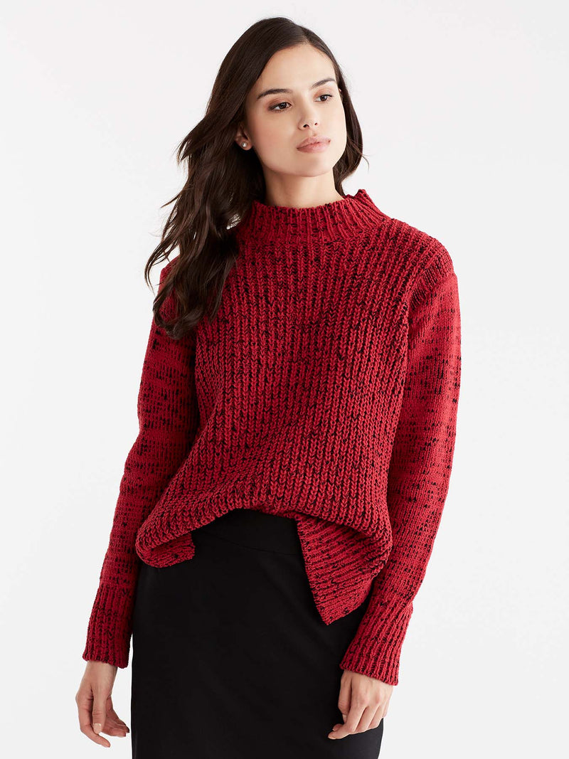 Hi-Lo Mock Neck Boucle Sweater Color Red
