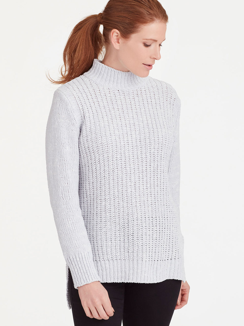 The Jones New York Chenille Mock Neck Top in color Silver Grey Heather - Image Position 1