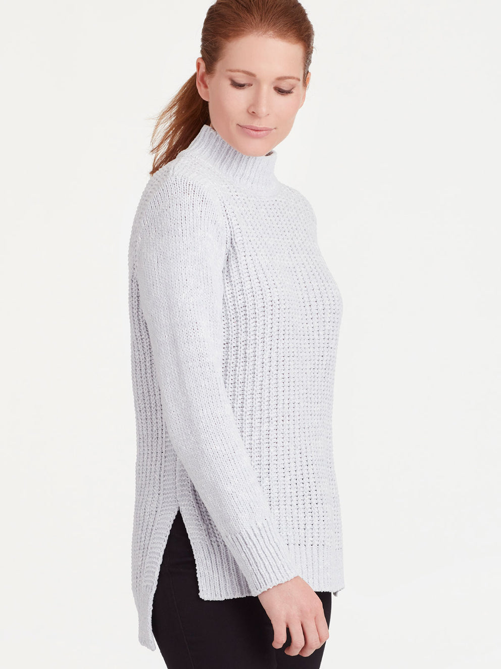 The Jones New York Chenille Mock Neck Top in color Silver Grey Heather - Image Position 2