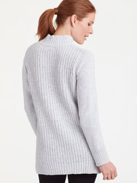 The Jones New York Chenille Mock Neck Top in color Silver Grey Heather - Image Position 3