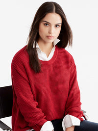 Boat Neck Quarter Sleeve Top Color Red