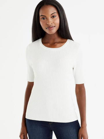 Ribbed Elbow Sleeve Top