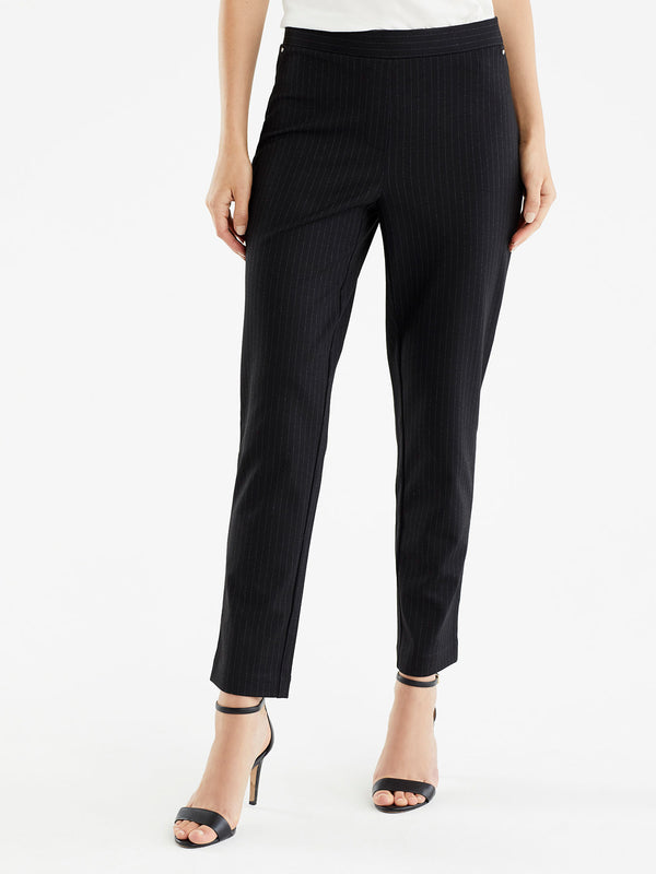 Pinstripe Grace Ankle Pull-On Pants