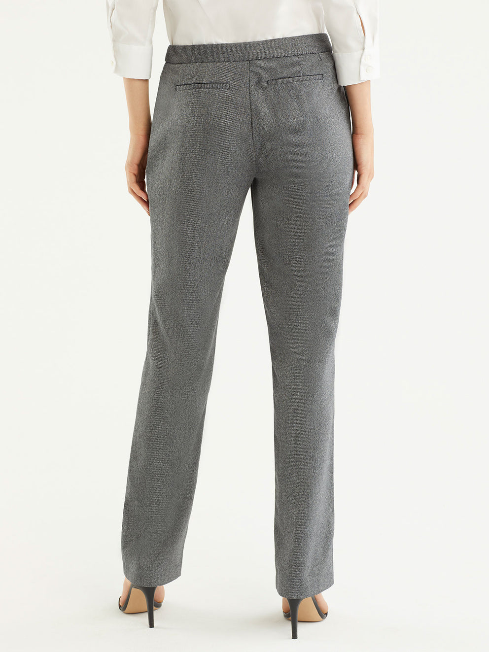 The Jones New York Broken Twill Sydney Pant in color Pewter Ivory - Image Position 3