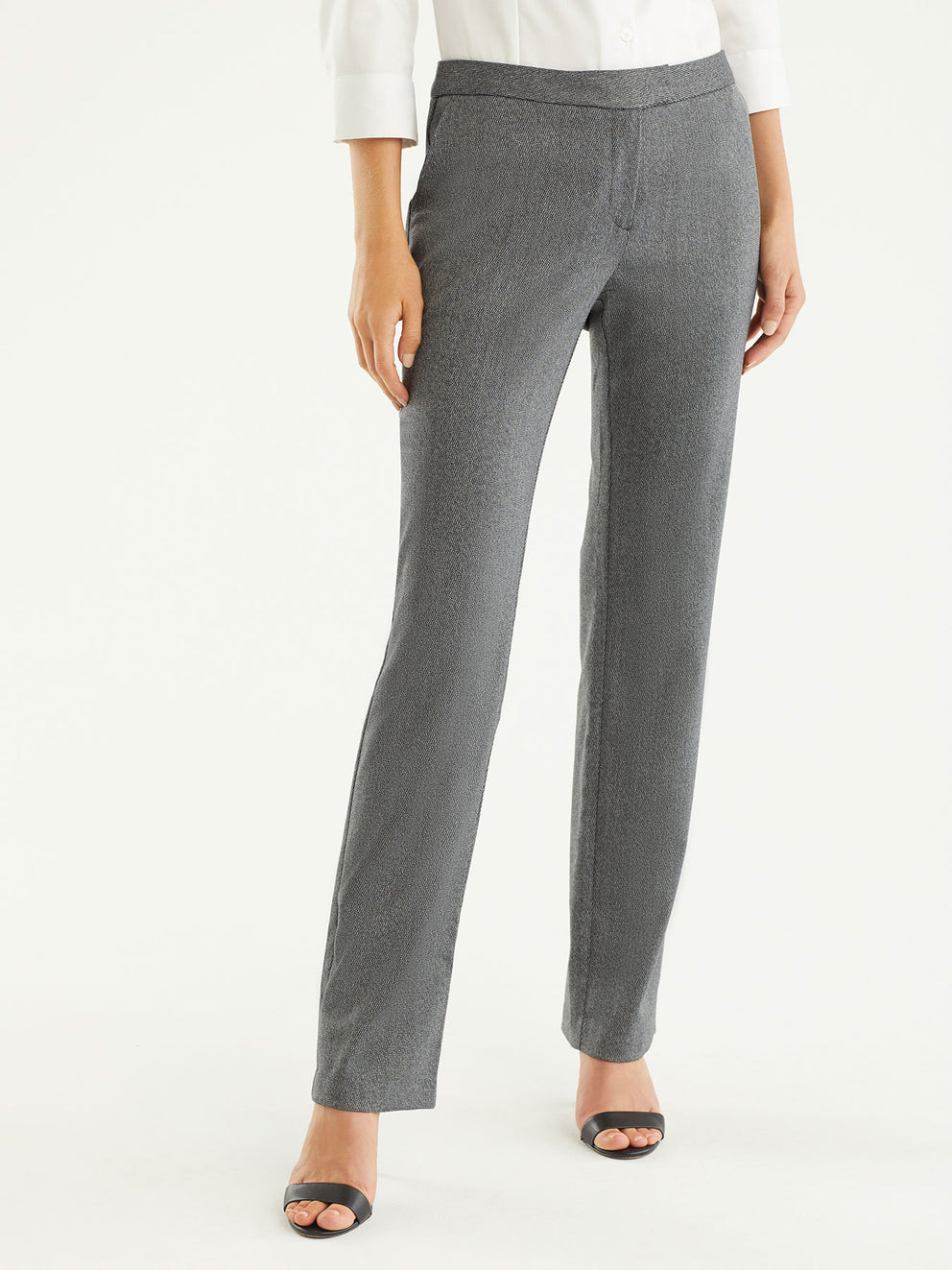 The Jones New York Broken Twill Sydney Pant in color Pewter Ivory - Image Position 1