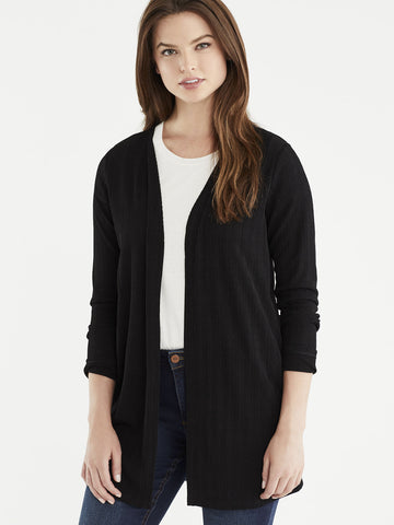 Long Ribbed Cardigan, Plus Size