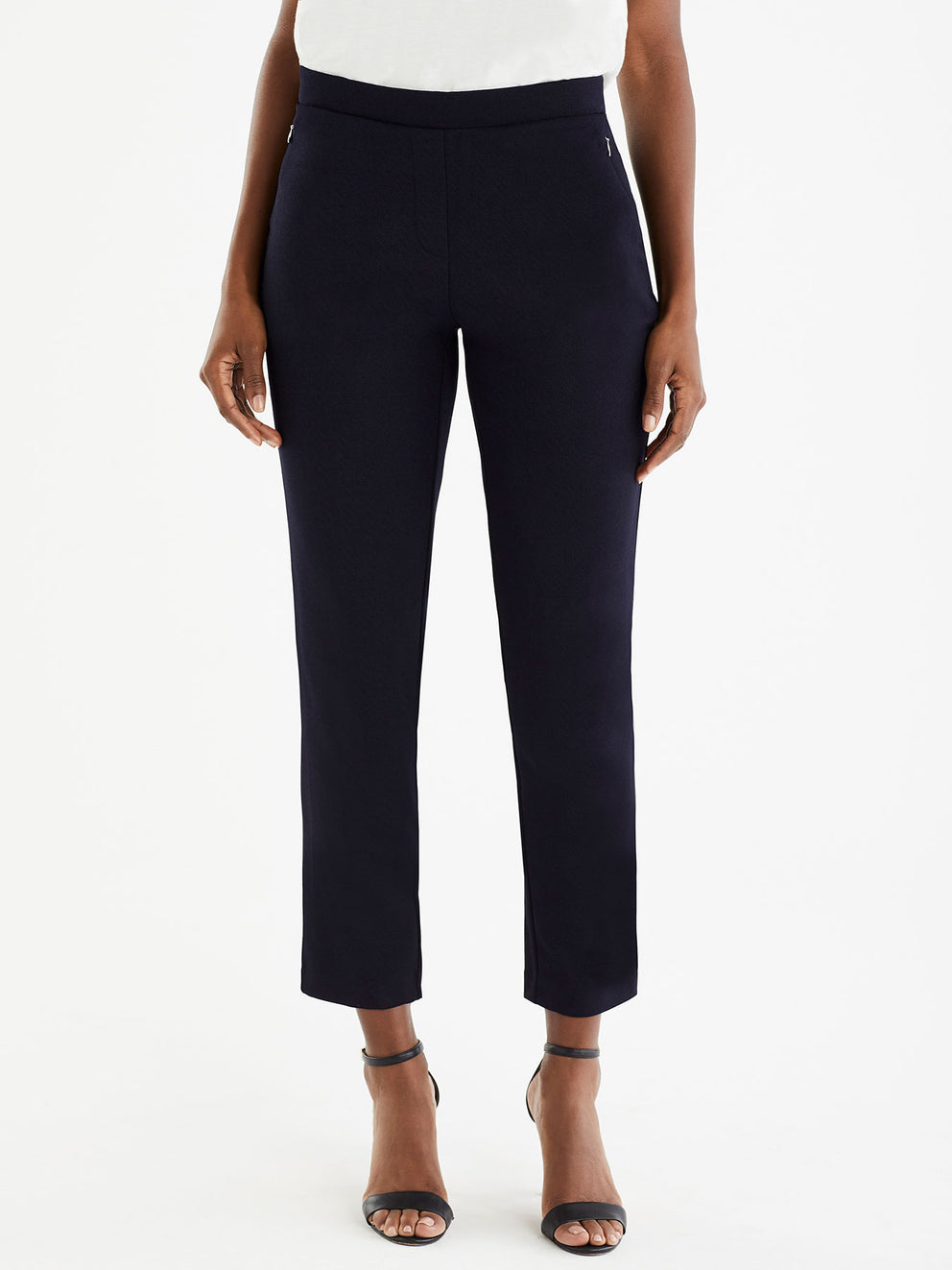 The Jones New York Ponte Shadow Plaid Pull-On Pant in color Navy - Image Position 1
