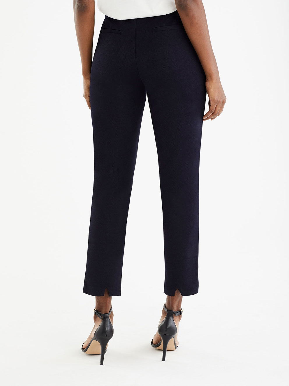 The Jones New York Ponte Shadow Plaid Pull-On Pant in color Navy - Image Position 3