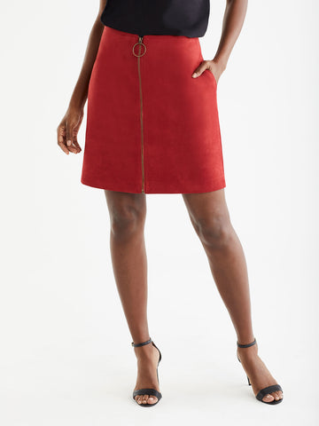 Zip Front Faux Suede Skirt