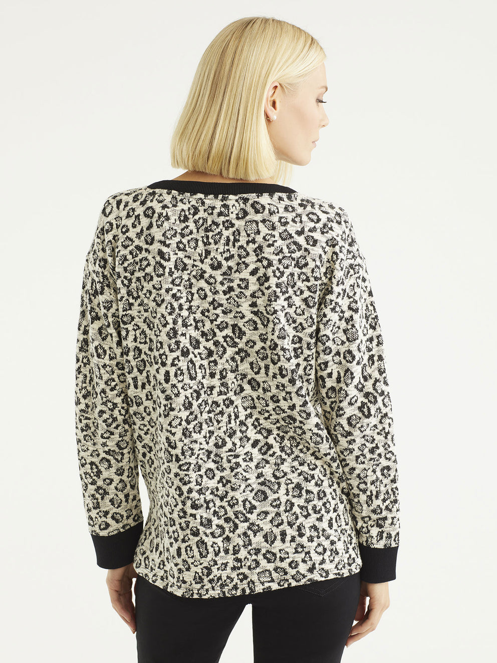 Cheetah Knit Pullover Top Color Cheetah Print