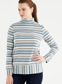 The Jones New York Long Sleeve Mock Neck Top in color Striped Blue - Image Position 1