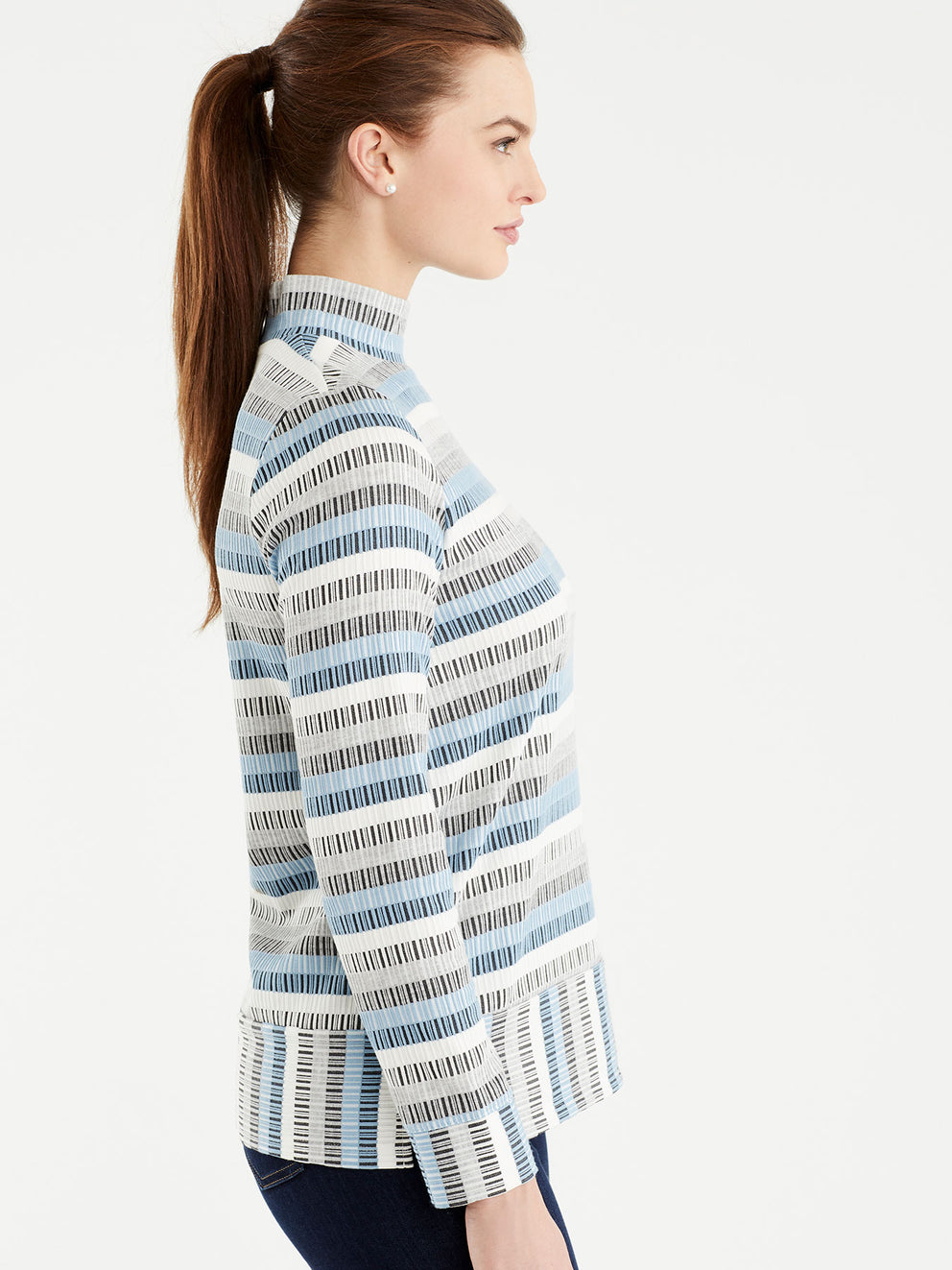 The Jones New York Long Sleeve Mock Neck Top in color Striped Blue - Image Position 2