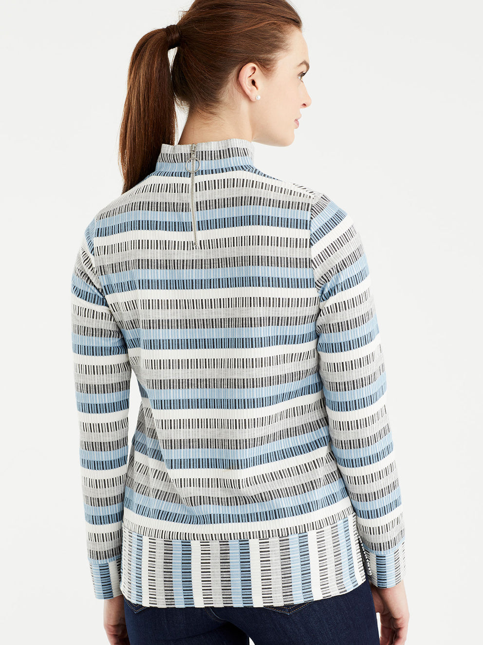 The Jones New York Long Sleeve Mock Neck Top in color Striped Blue - Image Position 3