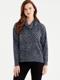 The Jones New York Leopard Print Cowl Neck Top, Plus Size in color Leopard Print - Image Position 1