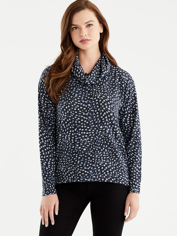 Leopard Print Cowl Neck Top, Plus Size