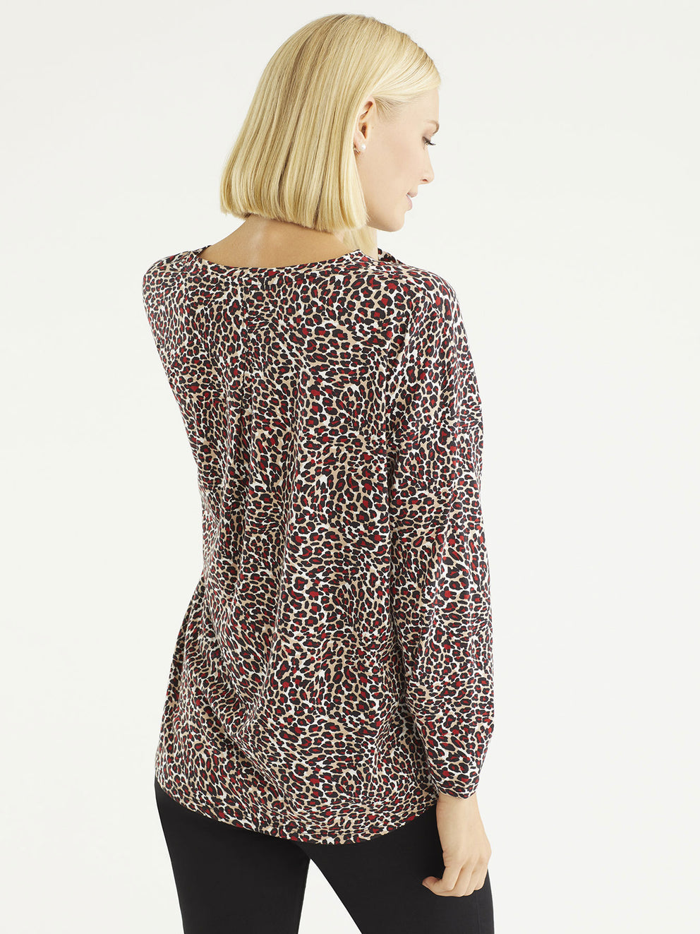 The Jones New York Leopard Print Scrunch Sleeve Jersey in color Mini Leopard Print - Image Position 3
