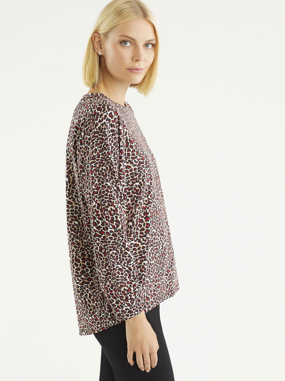 The Jones New York Leopard Print Scrunch Sleeve Jersey in color Mini Leopard Print - Image Position 2