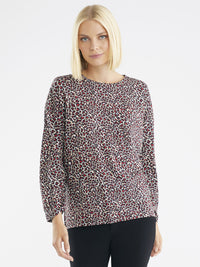 The Jones New York Leopard Print Scrunch Sleeve Jersey in color Mini Leopard Print - Image Position 1
