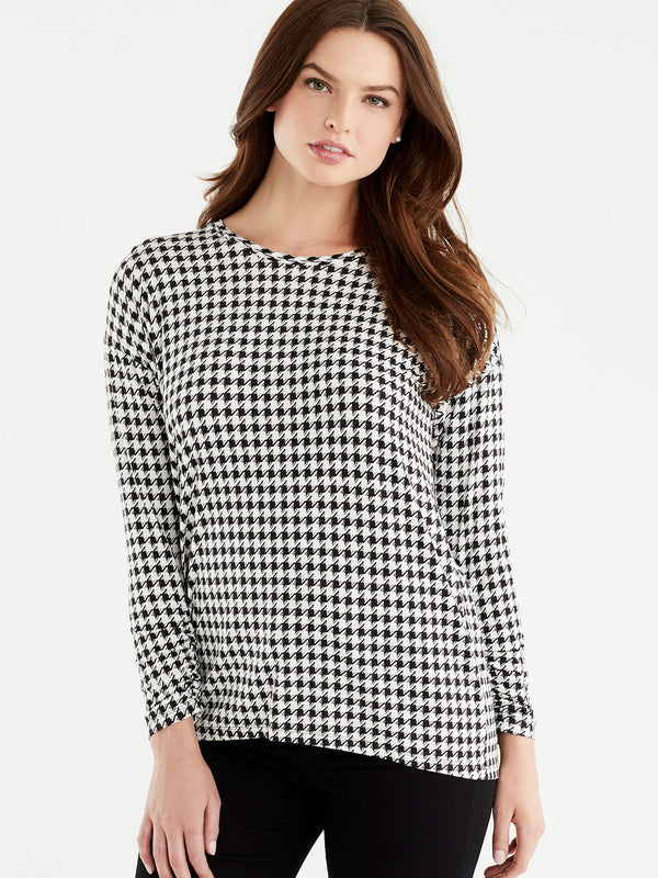 Houndstooth Scrunch Sleeve Jersey, Plus Size