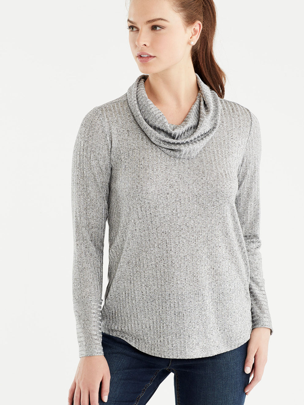 The Jones New York Marled Rib Cowl Neck Top in color Grey - Image Position 1