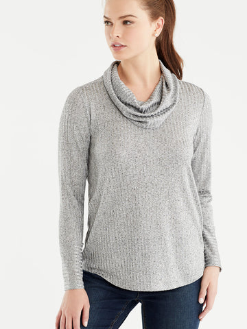 Marled Rib Cowl Neck Top, Plus Size