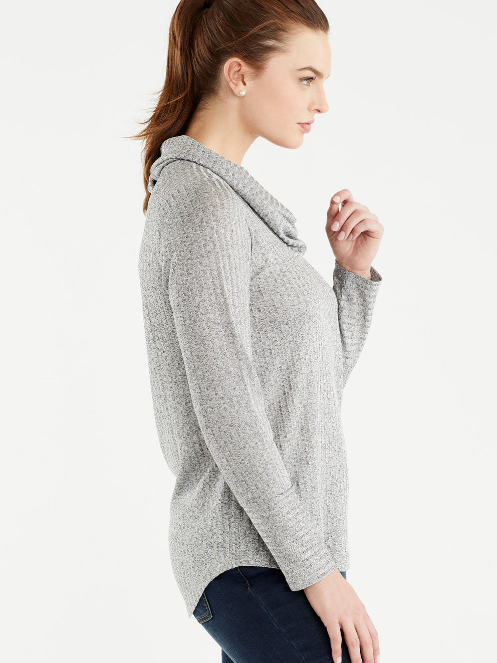 The Jones New York Marled Rib Cowl Neck Top in color Grey - Image Position 2