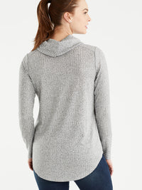 The Jones New York Marled Rib Cowl Neck Top in color Grey - Image Position 3