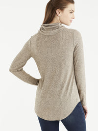 Marled Rib Cowl Neck Top Color Sandstone