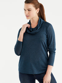 The Jones New York Marled Rib Cowl Neck Top in color Deep Sky - Image Position 1