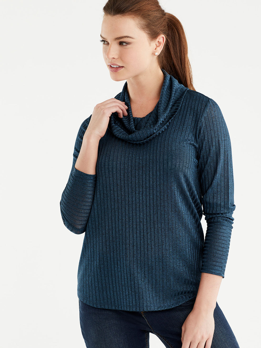 The Jones New York Marled Rib Cowl Neck Top, Plus Size in color Deep Sky - Image Position 1