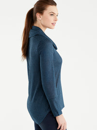 The Jones New York Marled Rib Cowl Neck Top, Plus Size in color Deep Sky - Image Position 2
