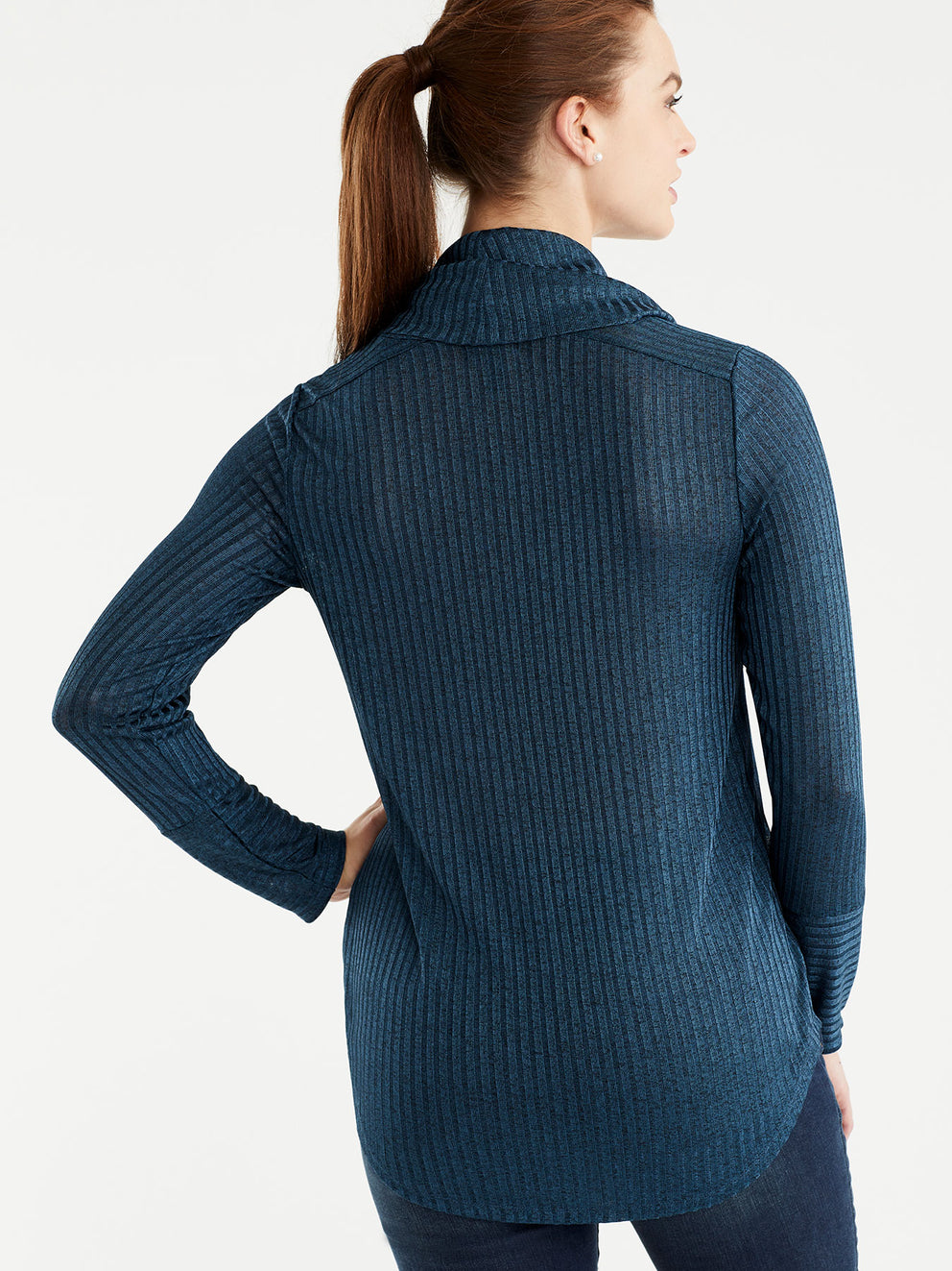 The Jones New York Marled Rib Cowl Neck Top, Plus Size in color Deep Sky - Image Position 3