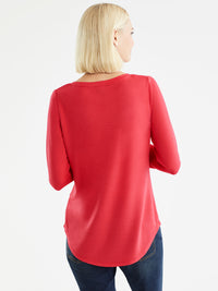 The Jones New York French Terry Boatneck Top, Plus Size in color Cherry - Image Position 3