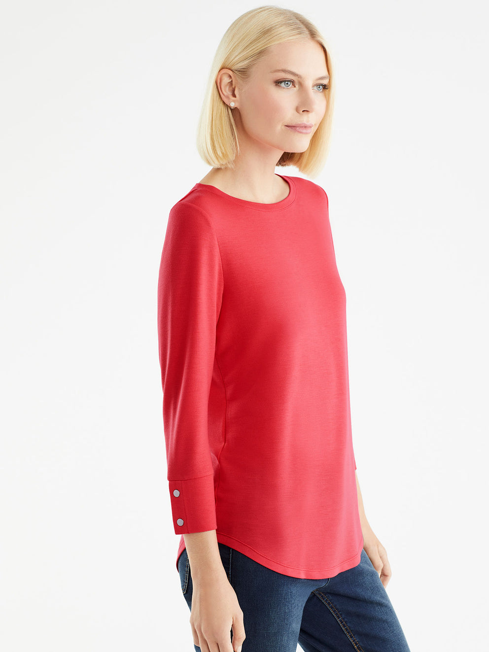 The Jones New York French Terry Boatneck Top, Plus Size in color Cherry - Image Position 2