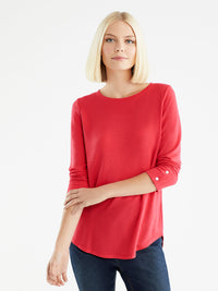The Jones New York French Terry Boatneck Top, Plus Size in color Cherry - Image Position 1