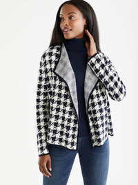 The Jones New York Houndstooth Cardigan in color Navy Ivory Houndstooth - Image Position 1