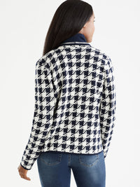 The Jones New York Houndstooth Cardigan in color Navy Ivory Houndstooth - Image Position 3