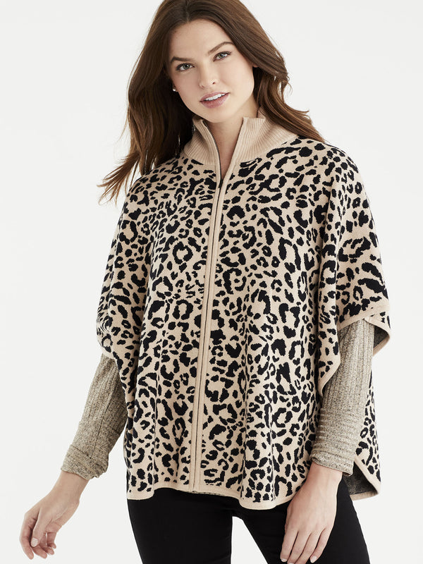 Leopard Print Mock Neck Cape