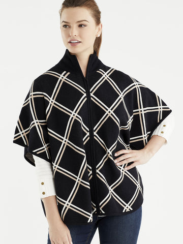 Diagonal Plaid Mock Neck Cape