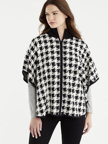 Houndstooth Mock Neck Cape