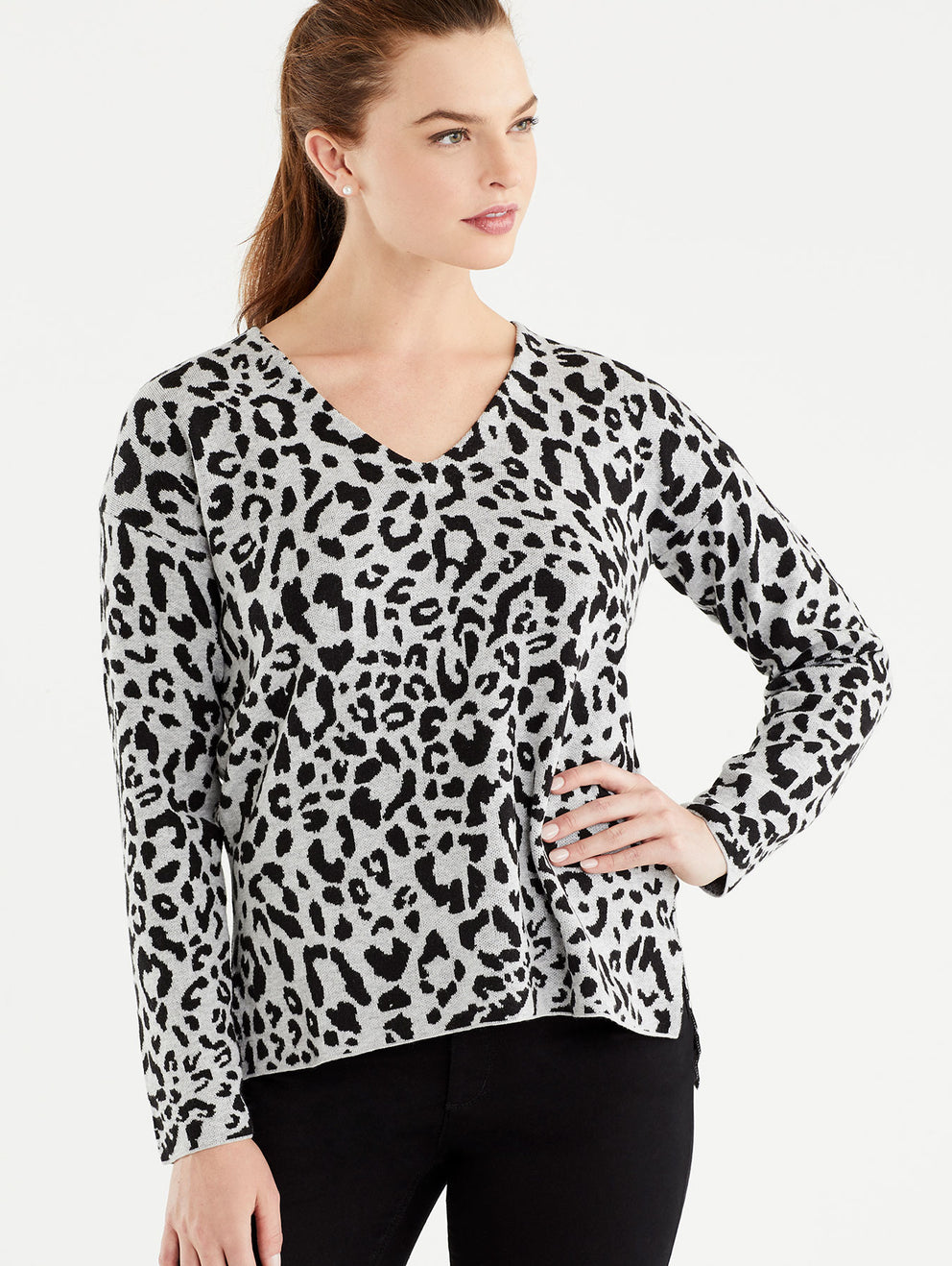 The Jones New York Grey Leopard Print V-Neck Tunic in color Grey Leopard Print - Image Position 1