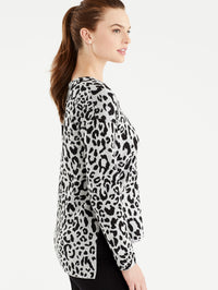 The Jones New York Grey Leopard Print V-Neck Tunic in color Grey Leopard Print - Image Position 2